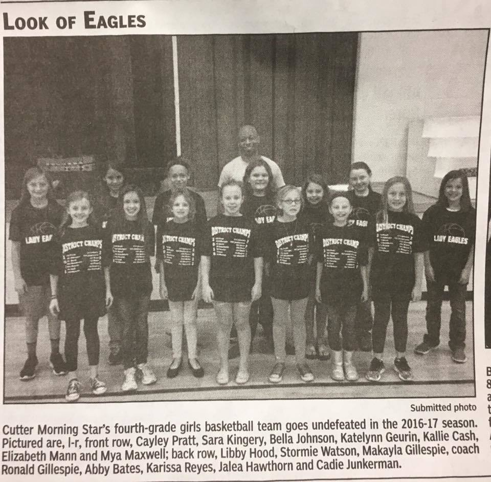 Way to go 4th grade Lady Eagles!