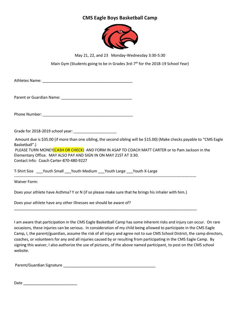Boys Basketball Camp (3rd-7th) is May 21-23 from 3:30 to 5:30