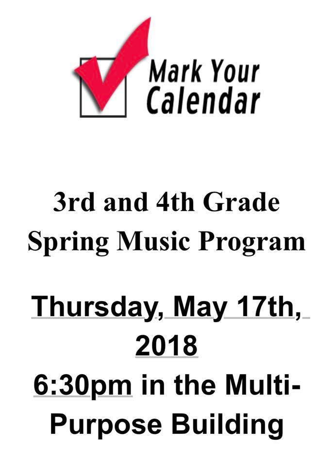 Mark your Calendars for the Spring Music Program!