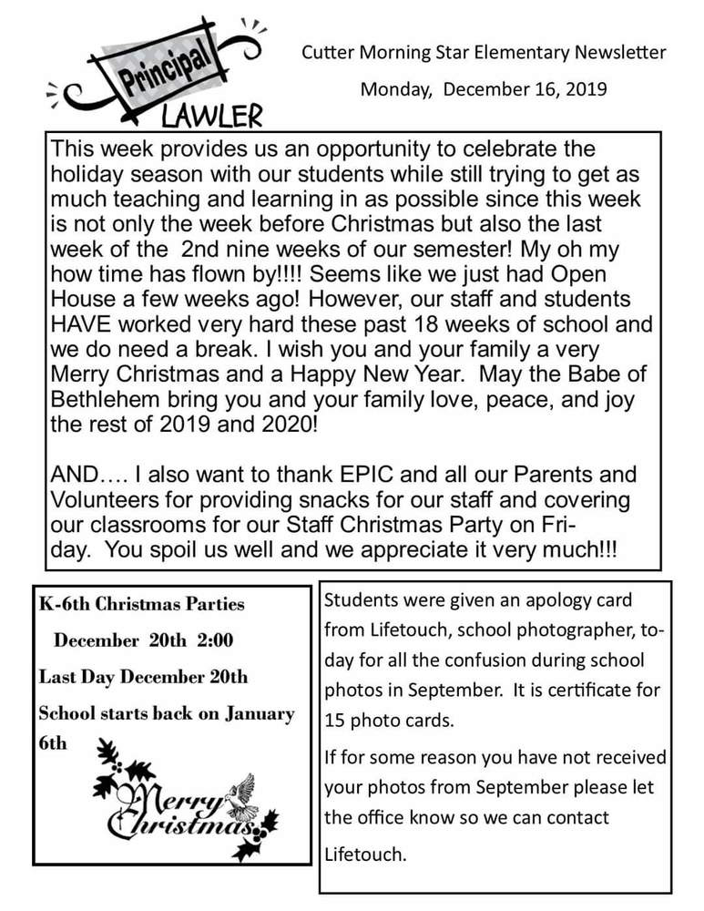 Elementary Newsletter for the week of December 16th.