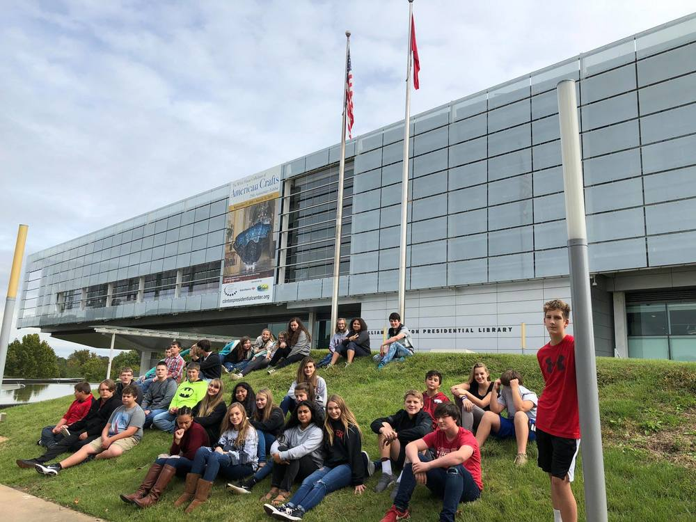 Eighth graders visit the Clinton Library and see a performance of Anne Frank.