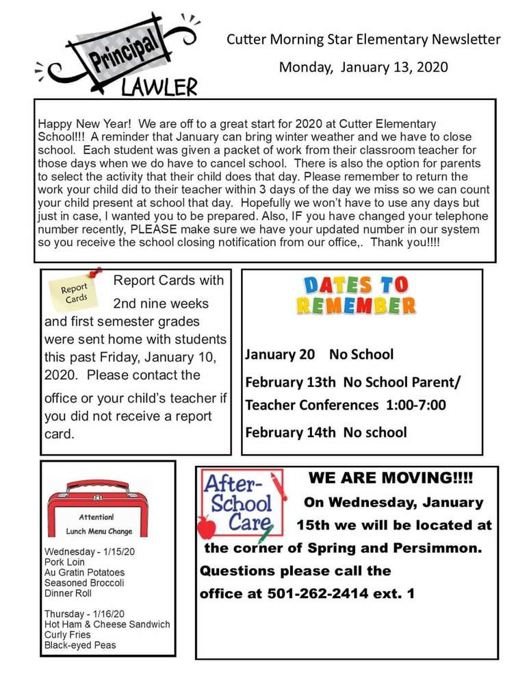 Elementary Newsletter for the week of January 13, 2020