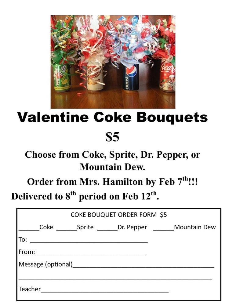 Don't forget to order your child a Valentine Coke Bouquet!