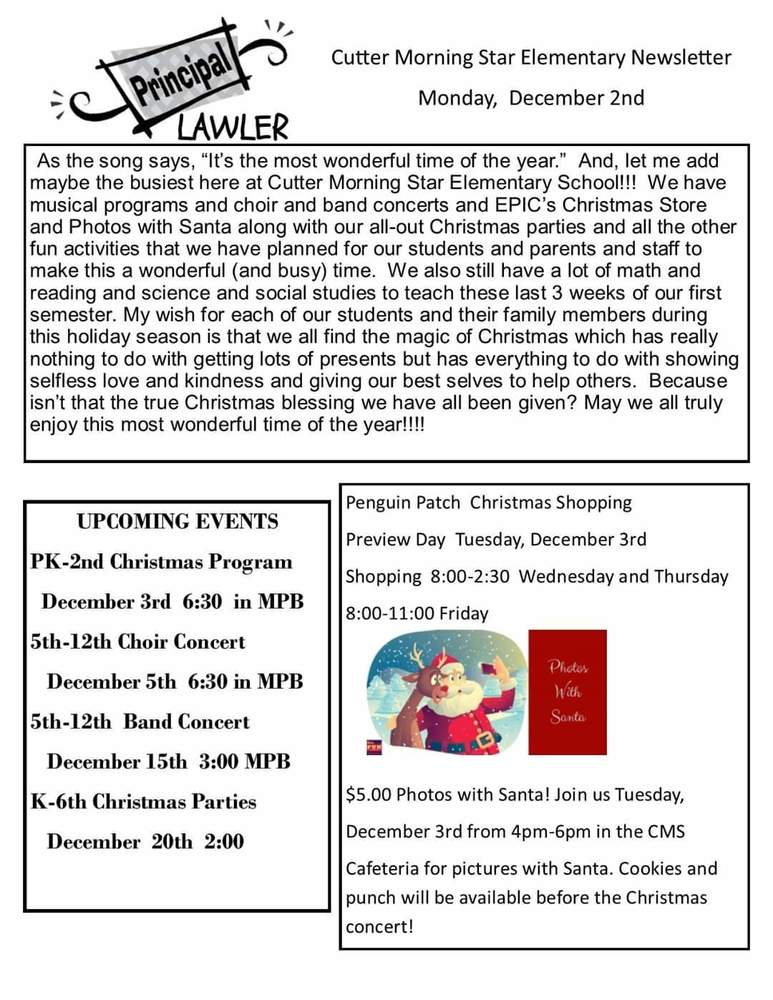 Elementary Newsletter for the week of December 3rd.