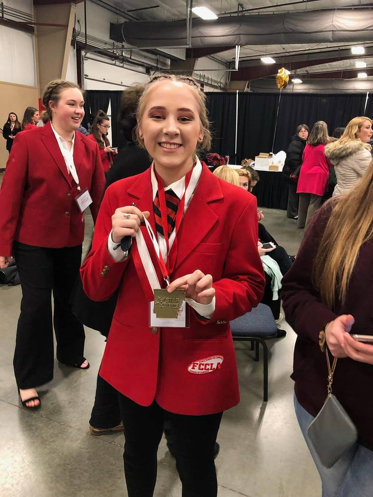 Alivia Griffin scored a gold in Recycle and Redesign Junior at FCCLA State Star events. She will be advancing the national competition this summer in Anaheim, California.