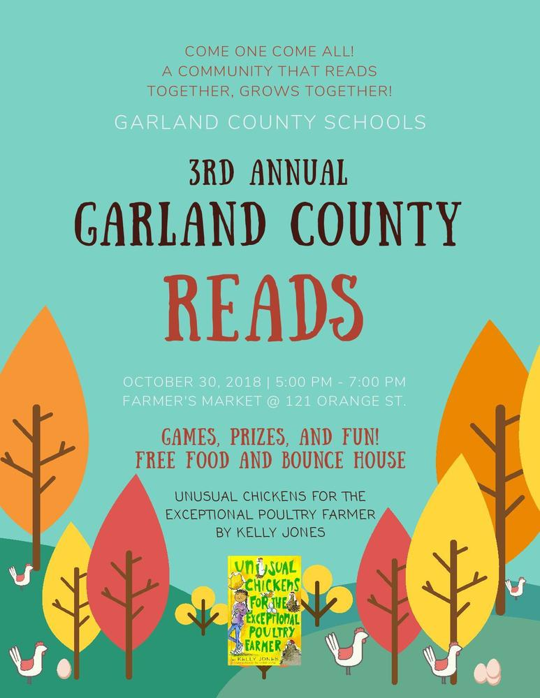 Join us for Garland County Reads on October 30th from 5-7 at the Farmers Market!