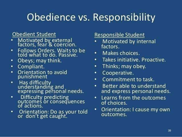 Obedience vs responsibility