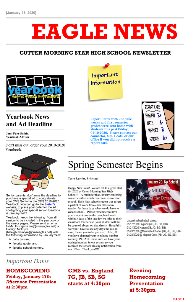 Page 1 of HS Newsletter